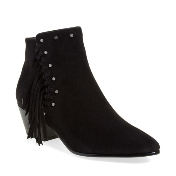 Sam Edelman Shoes - Sam Edelman Rudie Black Studded Fringe Boots 9.5